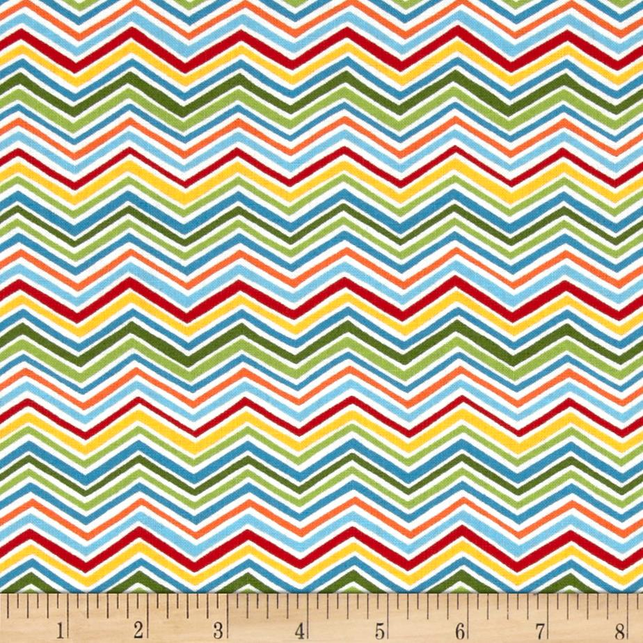Moda Bloomin' Fresh Spring Chevrons Green/Multi