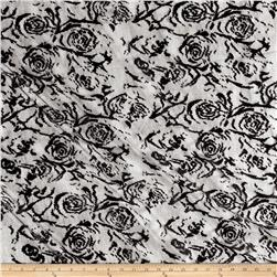 Designer Netting Lace Roses Black