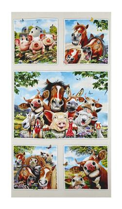"Farm Selfies 23.5"" Panel Cream"