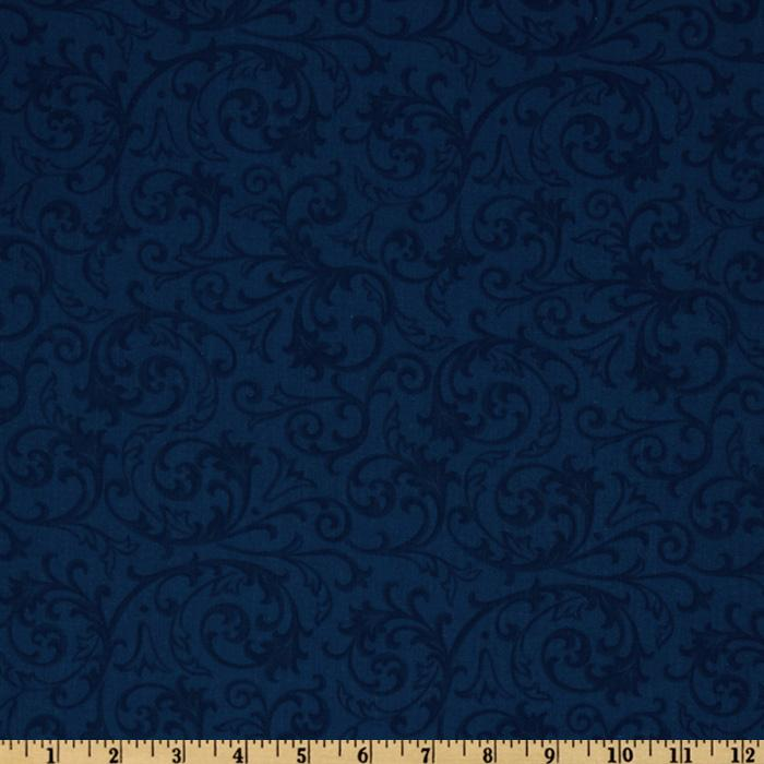 Baroque 108'' Quilt Backing Flourish Blue Fabric By The Yard