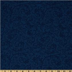 Baroque 108'' Quilt Backing Flourish Blue Fabric
