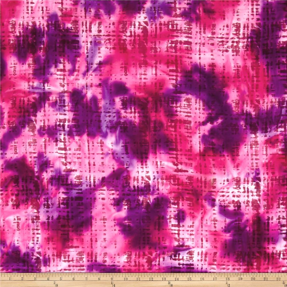 Hudson Bay Rayon Challis Abstract Plaid Pink/Purple