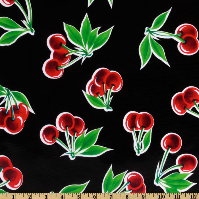 Old Fashioned Aprons & Patterns Oil Cloth Stella Cherries Black Fabric By The Yard $6.10 AT vintagedancer.com
