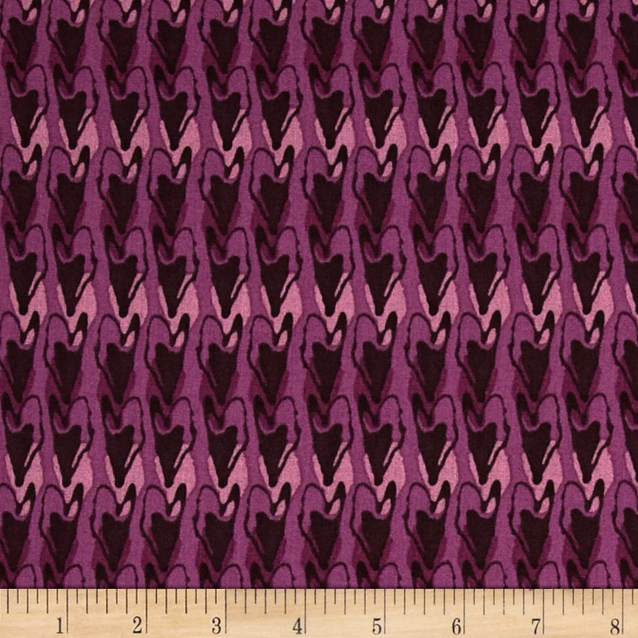 Blossoming Hearts Aligned Grape Fabric