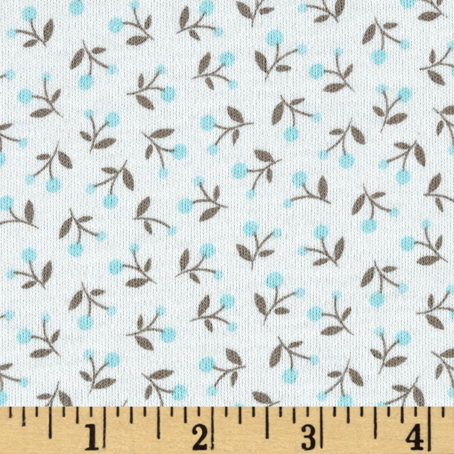 Cloud 9 Organics Ditsy Interlock Knit Turquoise Fabric by Cloud 9 in USA