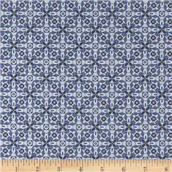 Stretch Polyester Jersey Tile Blue/Tan