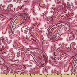 Stretch Satin Back Twill Paisley White/Pink