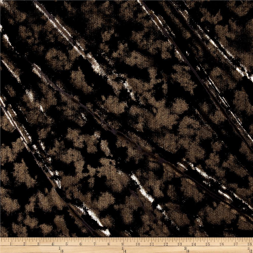 Telio metallic stretch velvet black gold discount for Velvet fabric