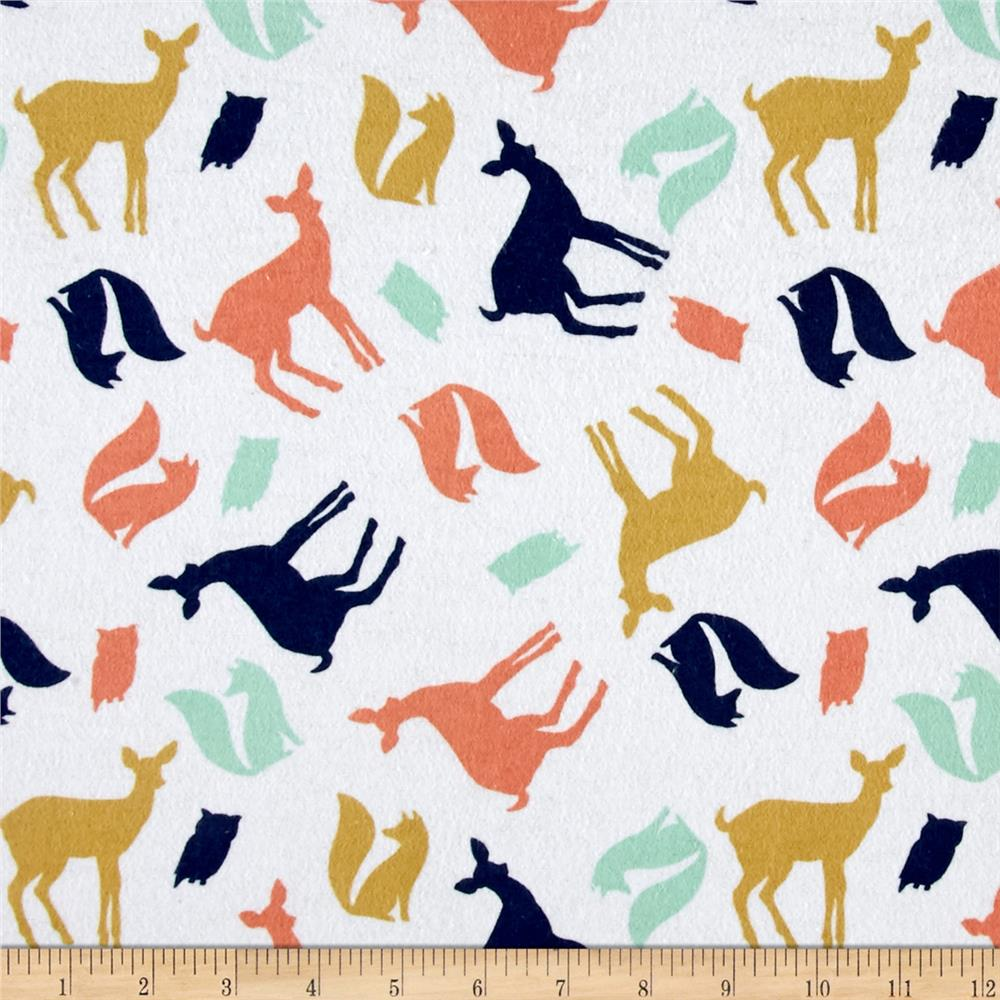 Comfy Flannel Tossed Forest Animals White
