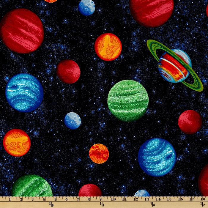 Planets multi blue discount designer fabric for Planet print fabric