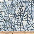 Kaufman Batiks Metallic Noel Geo Trees Snow