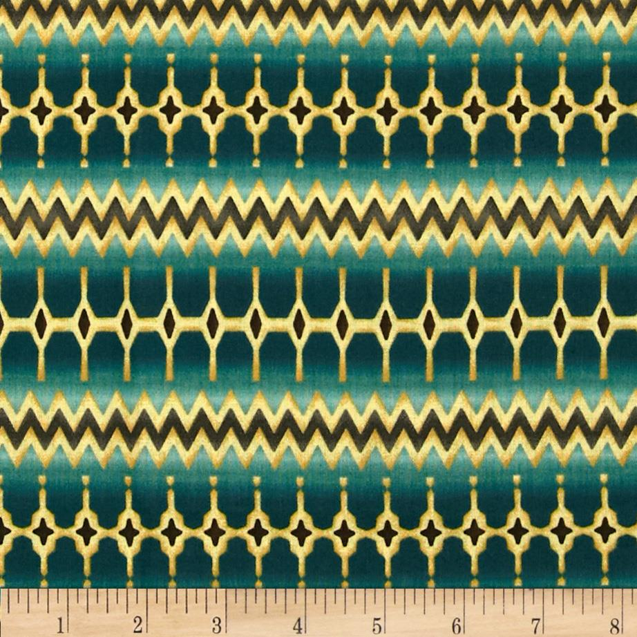 Zoe Verve Stripe/Border Blue Fabric