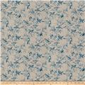 French General Aviary Toile Linen Blend Vintage Bleu