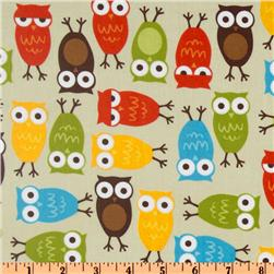 Urban Zoologie Slicker Laminated Cotton Owls Natural