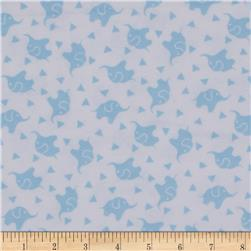 Dreamland Flannel Elephant Confetti  White/Dreamy Blue