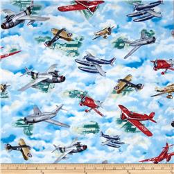 Wingman Military Vintage Planes Blue Fabric
