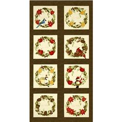 Moda Nature's Christmas Wreath Panel Holly Green