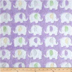 Double-Sided Minky Fleece Elephant Lavender