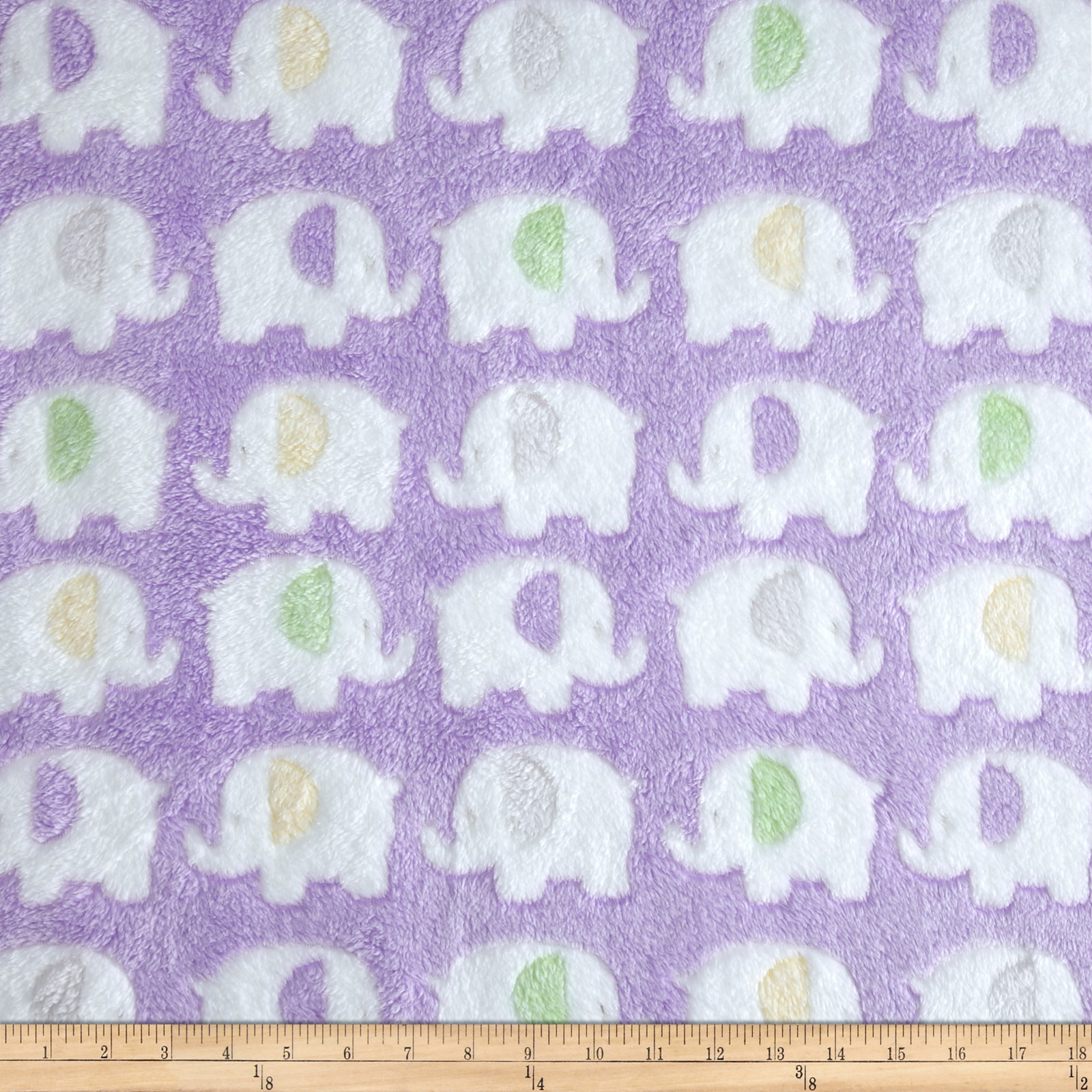Minky Sunggle Fleece Elephant Lavender Fabric