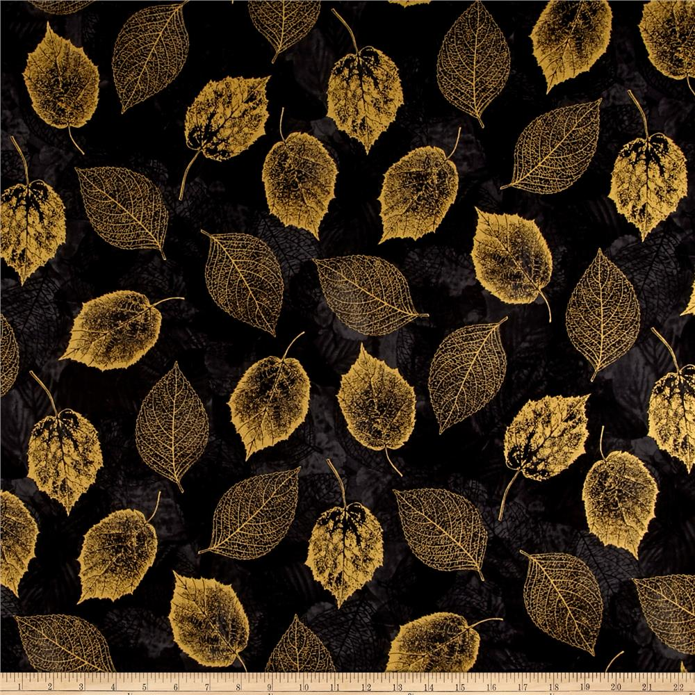Falling For You Metallic Leaves Black/Gold