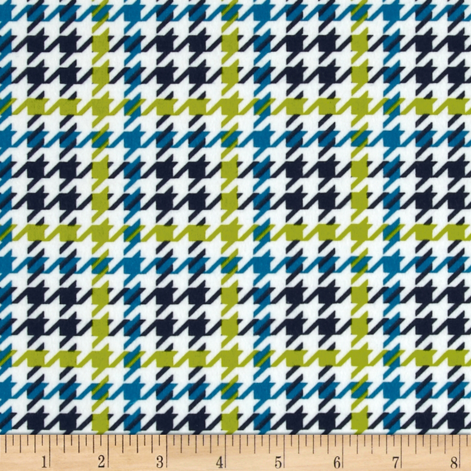 Cozy Cotton Flannel Houndstooth Marine Fabric