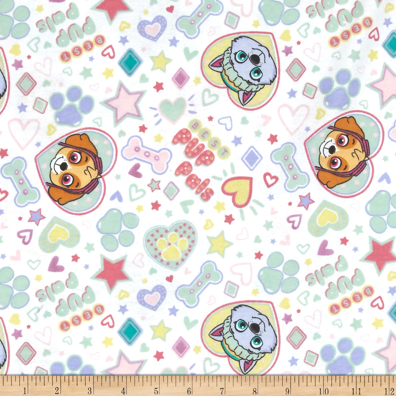 Nickelodeon Paw Patrol Pup Pals 4ever Flannel White Fabric