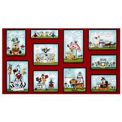 "No Fowl Play No Fowl Blocks 23.5"" Panel Red"