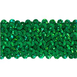 "1-1/2"" Hologram Stretch Sequin Trim Green"