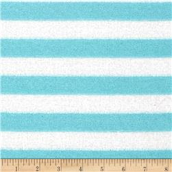 Designer Reverse French Terry Stripe Aqua/White