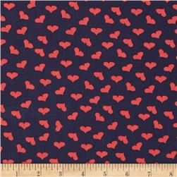 Dear Stella French Lessons Tossed Hearts Navy Fabric