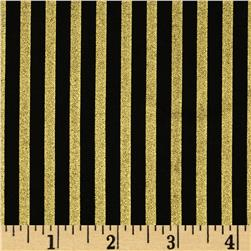 Gold Standard Metallic Shirting Stripe Black/Gold