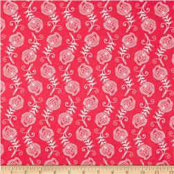 Contempo Feathers Hot Pink/White Fabric