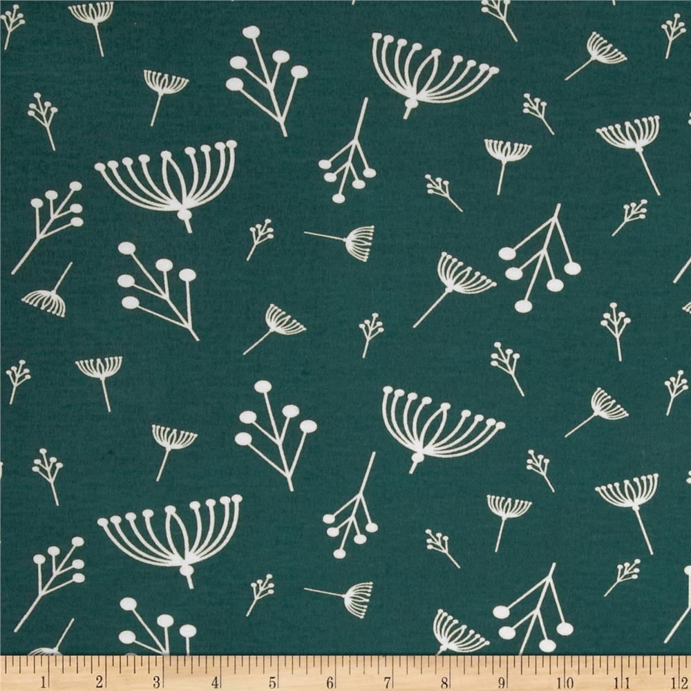 Birch Organic Interlock Knit Charley Harper Twigs Teal