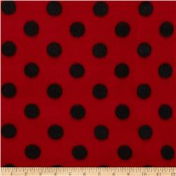 Fleece Print Polka Dots Red/Black