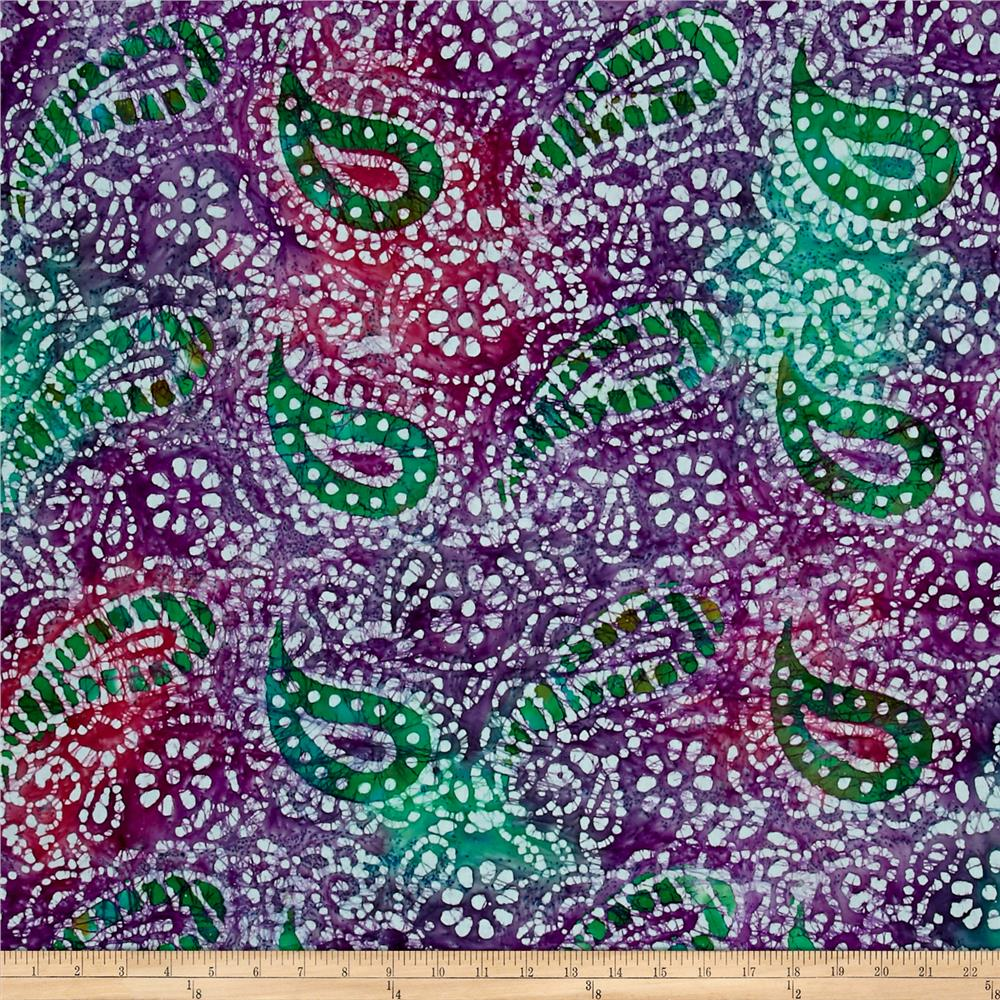 Indian Batik Paisley Purple/Teal/Fuchsia