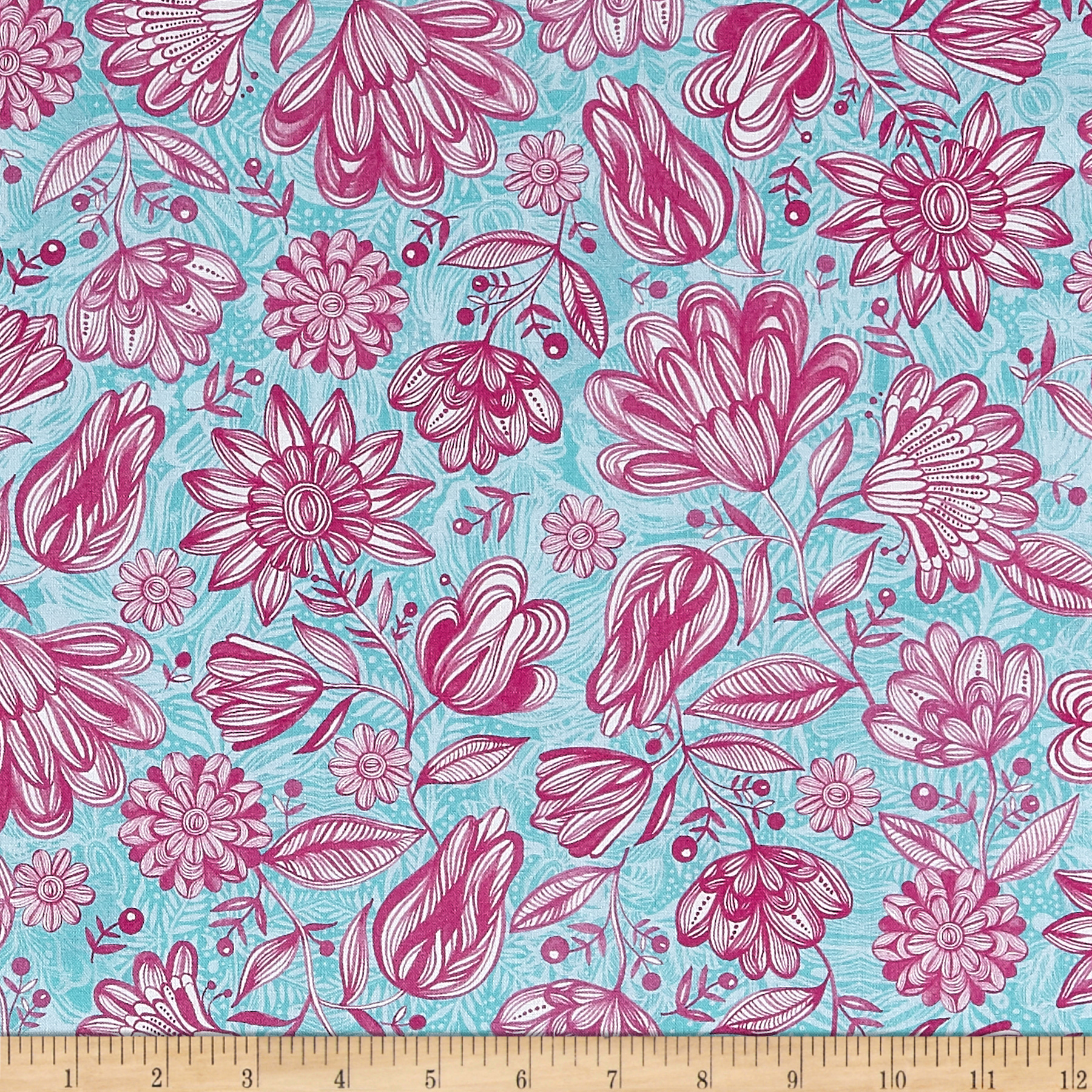 INOpets.com Anything for Pets Parents & Their Pets 3 Wishes Magic Garden Pink Garden Fabric