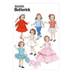 "Butterick Clothes for 18"" (46cm) Doll Pattern B6000 Size OSZ"