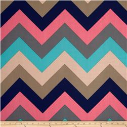 Stretch ITY Jersey Knit Large Chevron Navy/Taupe