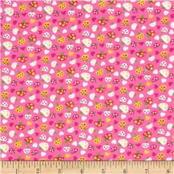 21 Wale Corduroy Mushrooms Pink Fabric