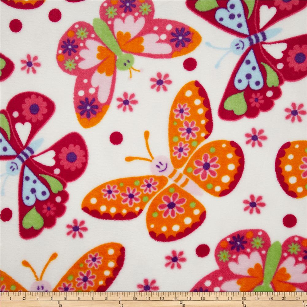 Plush Coral Fleece Tossed Butterflies White Fabric By The Yard