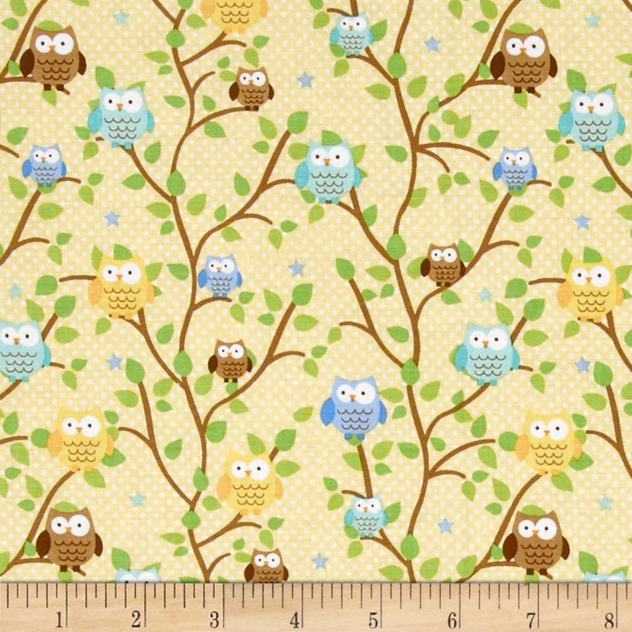 Riley Blake Snips & Snails Owls Yellow