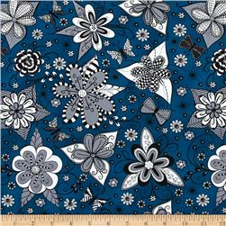 Ink Blossom Whimsy Floral Teal