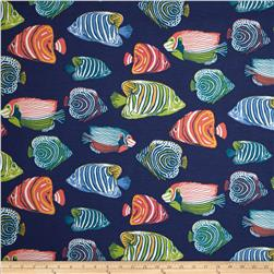 P Kaufmann Indoor/Outdoor Fish Tale Navy Blue