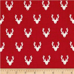 Scandi 3 Reindeer Heads Red