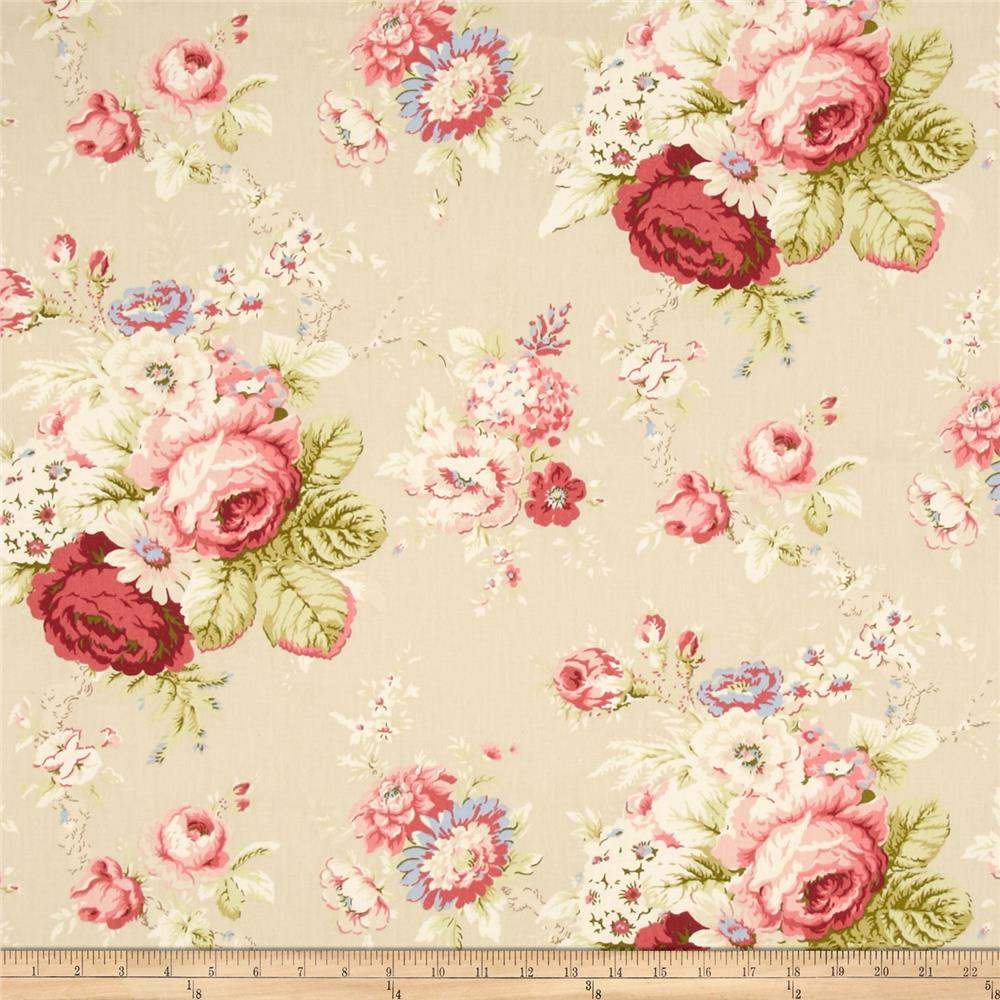 Waverly Sanctuary Rose Linen Discount Designer Fabric