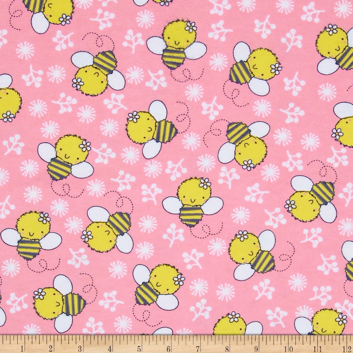 Flannel Tossed Bee Candy Pink Fabric