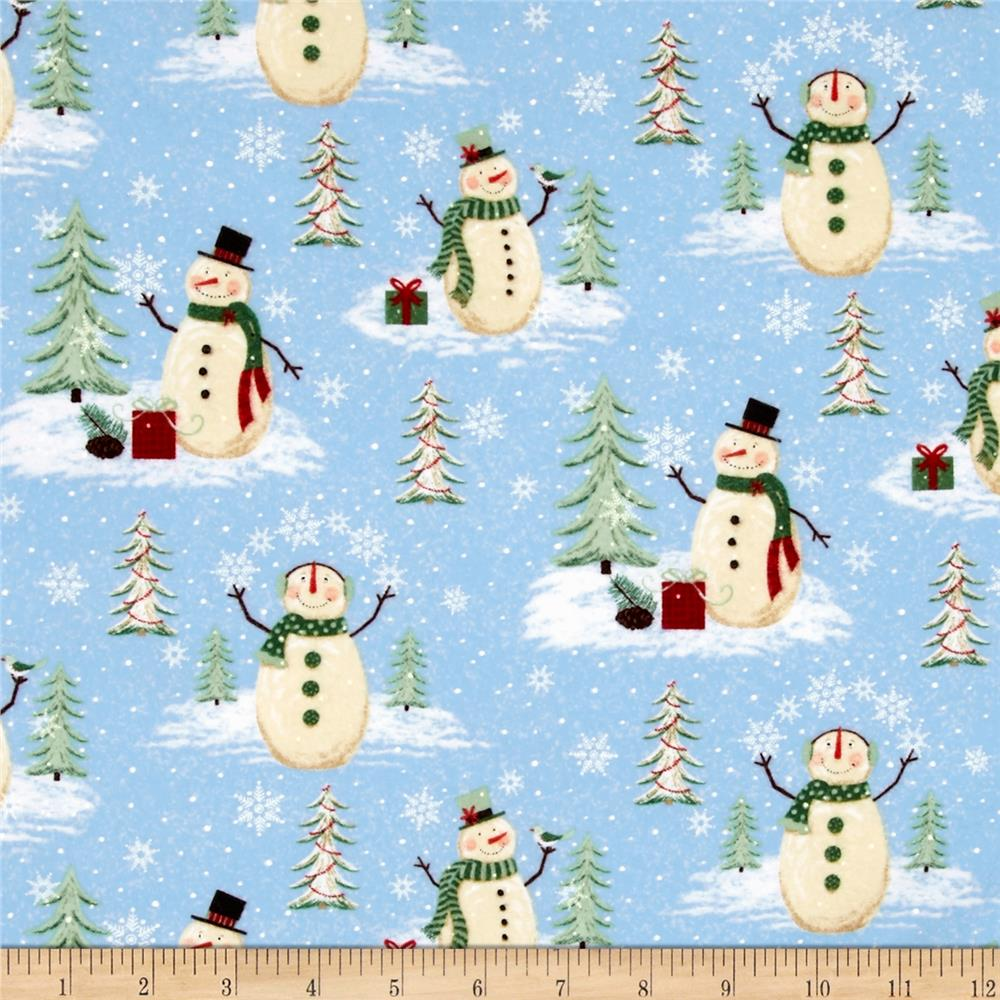 Woodland Noel Flannel Snowmen Light Blue