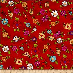 Loralie Designs Dog Happy! Happy Blooms Red