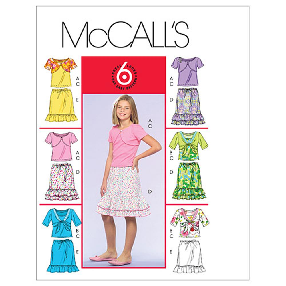 McCall's Girls' Shrugs, Tank Top and Skirts Pattern M5038 Size CH0