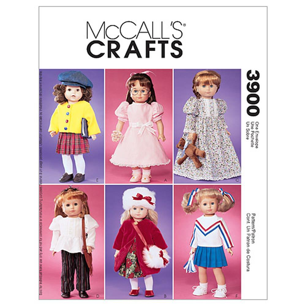 "McCall's Doll Clothes For 18"" Dolls Pattern M3900 Size OSZ"